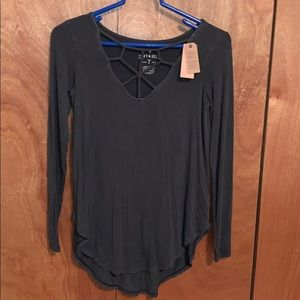 American Eagle caged neck tee